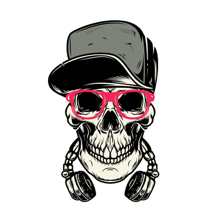 skull with headphones. Design element for poster, card, emblem, sign banner. Vector image Illustration