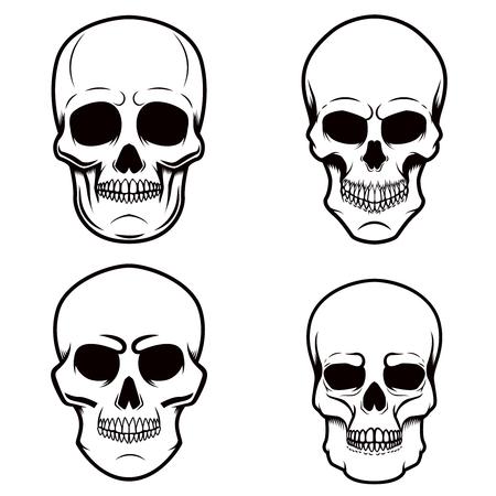 Set of skull illustrations on white background. Design element for logo, label, emblem, sign, poster, t shirt. Vector image Illustration