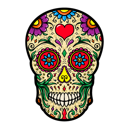 Illustration of mexican sugar skull isolated on white background. Design element for poster, card, t shirt. Vector image