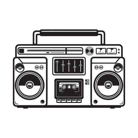 Boombox-Illustrationen auf weißem Hintergrund. Gestaltungselement für Logo, Etikett, Emblem, Zeichen, Abzeichen, Plakat, T-Shirt. Vektorbild