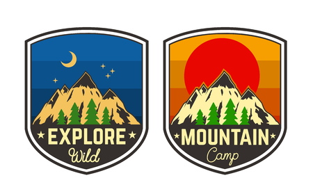 Set of mountain camping emblems. Design element for logo, label, sign, poster, t shirt. Vector illustration