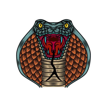Illustrazione del serpente cobra nello stile del tatuaggio della vecchia scuola. Elemento di design per logo, etichetta, segno, poster, t-shirt. Illustrazione vettoriale