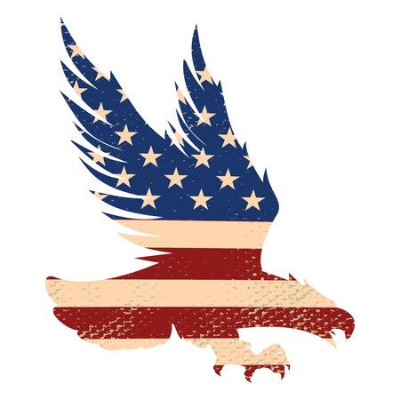Eagle silhouette on the usa flag background. Design element for poster, postcard. Vector illustration.