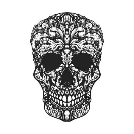 Hand Drawn Human Skull Made floral shapes. Design element for poster, t shirt. Vector illustration