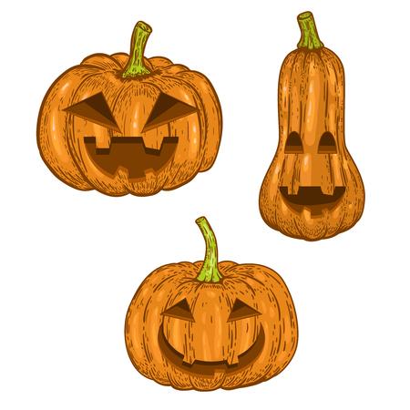 Set of scary halloween pumpkin isolated on white background. Design element for logo, label, emblem, sign, badge. Vector image Çizim