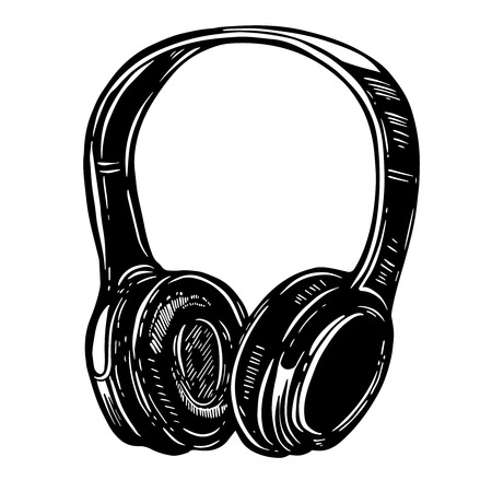 Hand drawn illustration of headphones on white background. Design element for logo, label, emblem, sign, poster, t shirt. Vector image