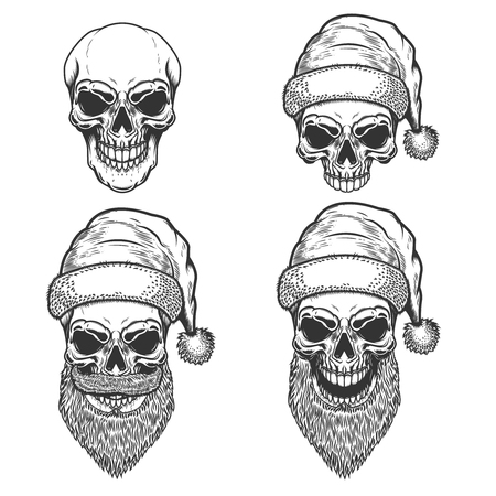 Set of Santa Claus skulls on white background. Christmas nightmare. Design element for logo, label, sign, poster, t shirt. Vector illustration Illustration