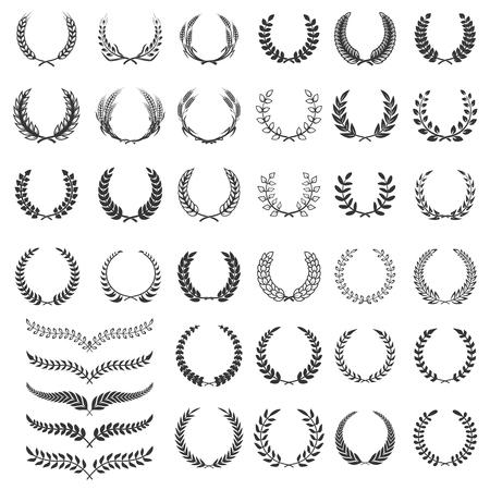 Ensemble d'icônes de couronne de laurier. Élément de design pour logo, étiquette, emblème, signe. Illustration vectorielle Logo