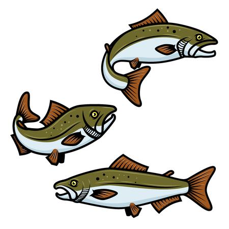 Satz buntes Lachsfischzeichen auf weißem Hintergrund. Forellenangeln. Gestaltungselement für Logo, Etikett, Emblem, Zeichen. Vektorillustration
