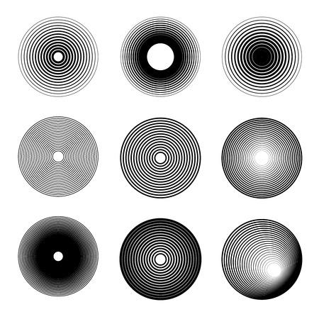 Conjunto de iconos de anillo de ondas de sonido. Elemento de diseño de logotipo, etiqueta, emblema, letrero, insignia. Imagen vectorial Logos