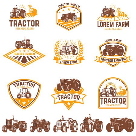 Set of tractor emblems. Farmers market. Design element for logo, label, sign. Vector illustration