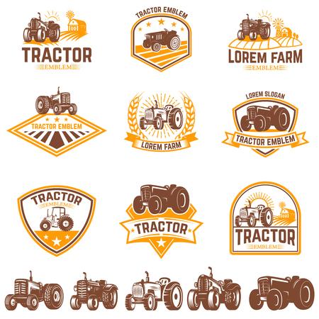 Set di emblemi del trattore. Mercato degli agricoltori. Elemento di design per logo, etichetta, segno. Illustrazione vettoriale