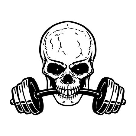 Cráneo con barra en los dientes. Elemento de diseño para logotipo de gimnasio, etiqueta, emblema, letrero, cartel, camiseta. Imagen vectorial Logos