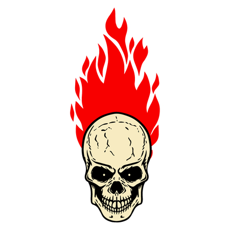 Skull with fire on white background. Design element for logo, label, emblem, sign, badge. Vector image
