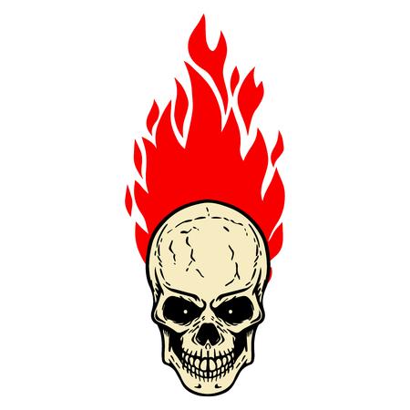 Skull with fire on white background. Design element for logo, label, emblem, sign, badge. Vector image