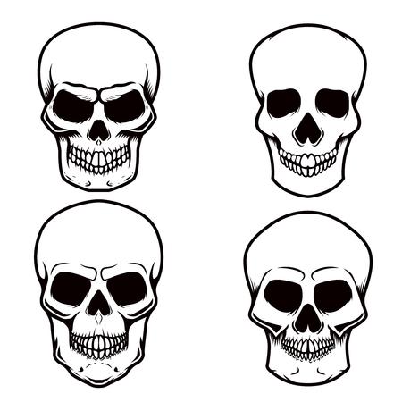 Satz Schädelillustrationen auf weißem Hintergrund. Gestaltungselement für Logo, Etikett, Emblem, Zeichen, Plakat, T-Shirt. Vektorbild