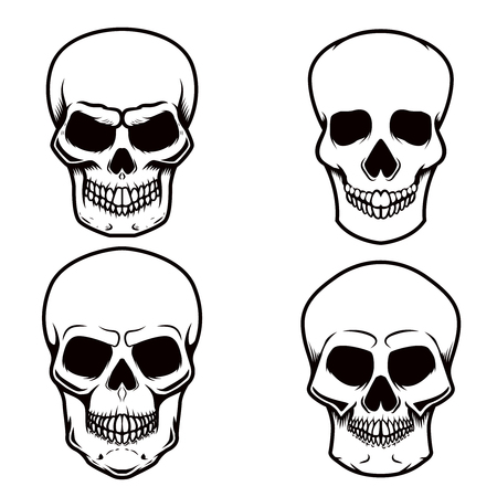 Set of skull illustrations on white background. Design element for logo, label, emblem, sign, poster, t shirt. Vector image Illustration