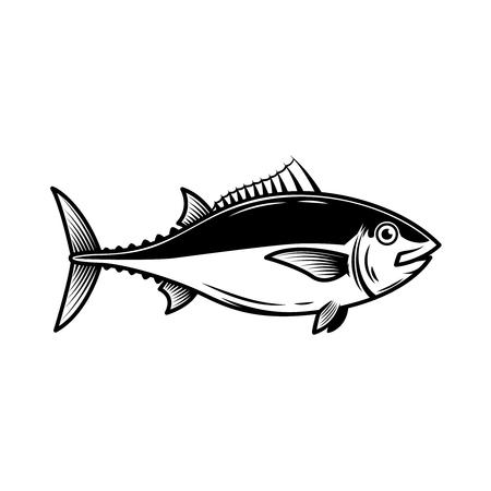 Illustration de thon sur fond blanc. Élément de design pour logo, étiquette, emblème, signe, insigne. Image vectorielle