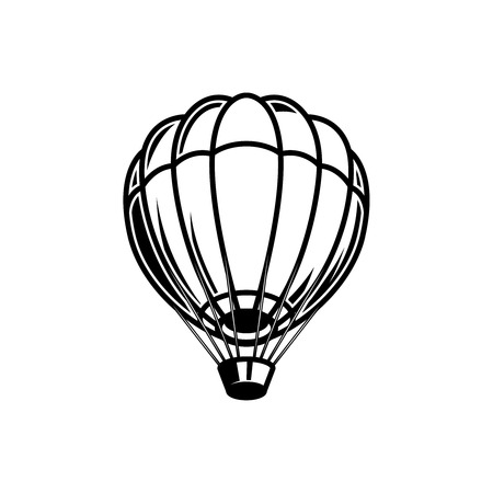 Air balloon illustration on white background. Design element for logo, label, emblem, sign, poster. Vector image