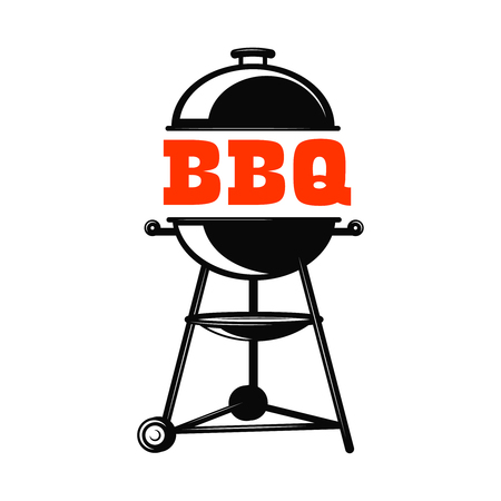 BBQ grill illustration on white background. Design element for logo, label, emblem, sign, badge. Vector illustration