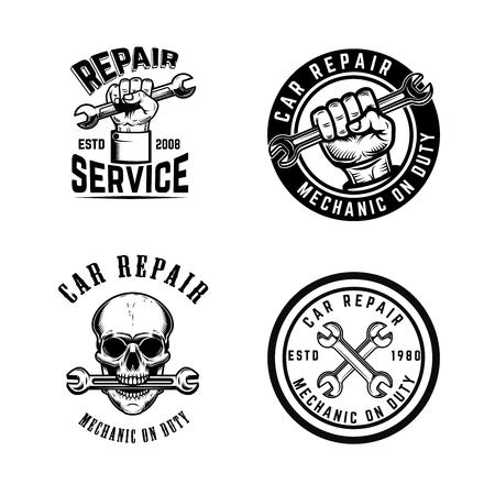 Satz Autoreparaturembleme. Gestaltungselement für Logo, Etikett, Zeichen, Abzeichen. Vektorillustration