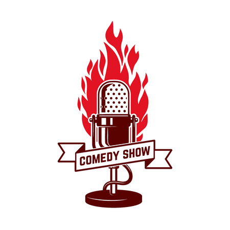 Comedy show emblem template. Design element for poster, flyer, emblem, sign. Vector illustration. 일러스트