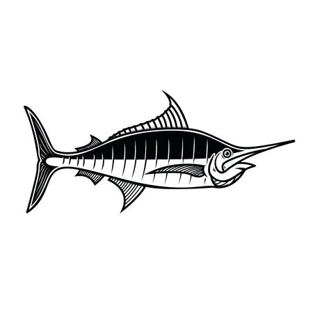 Swordfish. Design element for logo, label, emblem, sign, poster. Vector illustration Foto de archivo - 109916075