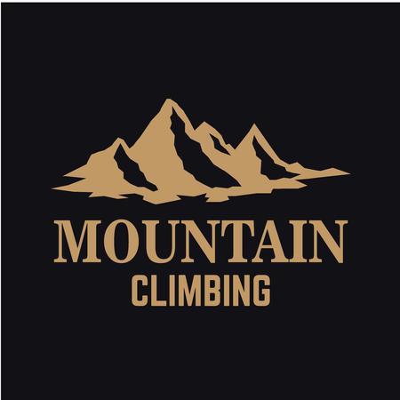 Mountain expedition. Emblem template with rock peak. Design element for logo, label, emblem, sign, poster. Vector illustration