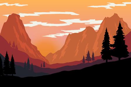 Illustration of mountain landscape in flat style. Design element for poster, flyer, presentation, brochure. Vector image