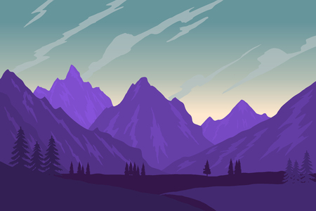 Illustration of mountain landscape in flat style. Design element for poster, flyer, presentation, brochure. Vector image