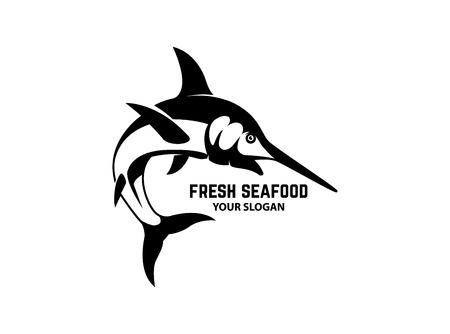 Fresh seafood. Emblem template with swordfish. Design element for logo, label, emblem, sign, poster. Vector illustration