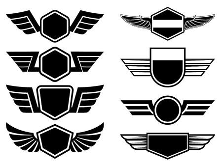 Set of winged emblems. Design element for poster, logo, label, sign, t shirt. Vector illustration