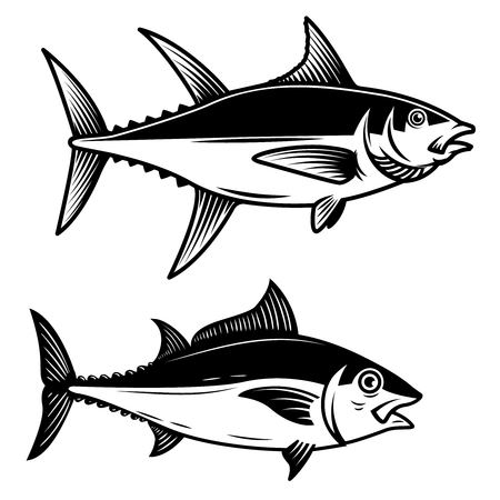 Set of Tuna fish illustration on white background. Design element for logo, label, emblem, sign, badge. Vector image