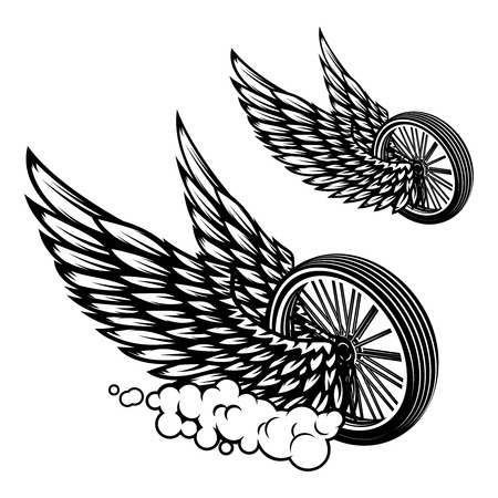 Wheel with wings illustration isolated on white background. Design element for poster, card, banner, sign, emblem, t shirt. Vector illustration