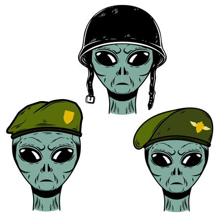 Set of alien soldier in battle helmet and paratrooper beret. Design element for logo, label, emblem, sign, poster, t shirt. Vector illustration Çizim