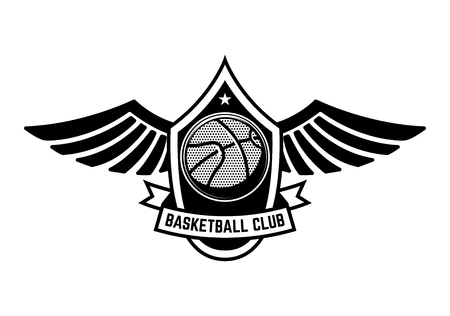 Basketball sport emblem with wings. Design element for poster, logo, label, emblem, sign, t shirt. Vector illustration