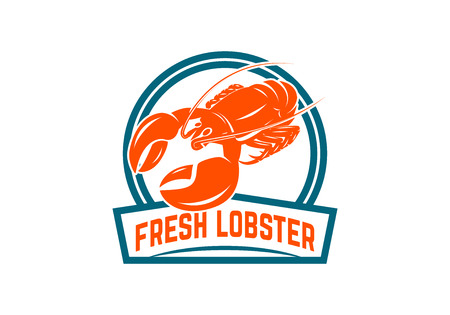 Fresh seafood. Emblem template with lobster. Design element for logo, label, emblem, sign, poster. Vector illustration