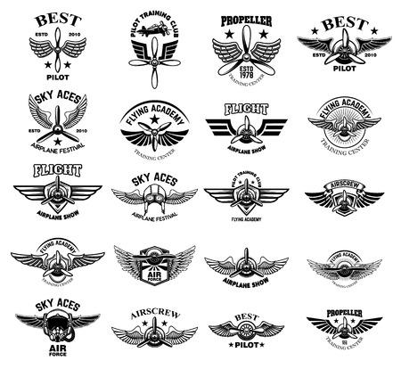Set of vintage airplane emblems. Design elements for logo, label, sign, menu. Vector illustration Logo