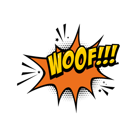 WOOF!!! Comic style phrase with speech bubble. Vector illustration
