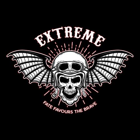 Extreme. Skull in motorcycle helmet with bat wings. Design element for logo, label, emblem, sign, poster, t shirt. Vector illustration