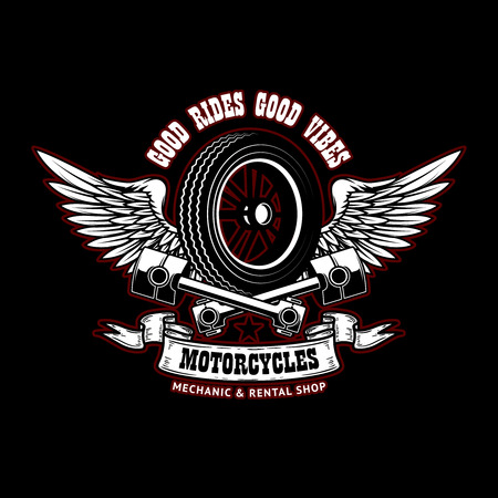Good rides good vibes. Emblem template with winged wheel and pistons. Design element for poster, logo, label, sign, t shirt. Vector illustration