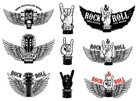 Set di emblemi di festival di musica rock vintage. Mano con segno di Rock and roll con le ali. Elemento di design per logo, etichetta, segno, poster, t-shirt. Illustrazione vettoriale