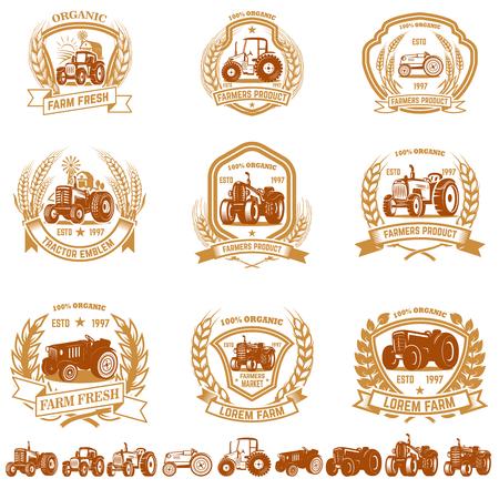 Set of vintage farmer emblems with tractors. Design element for logo, label, sign, poster, t shirt. Vector illustration