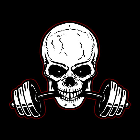 Skull with barbell in teeth. Design element for gym logo, label, emblem, sign, poster, t shirt. Vector image
