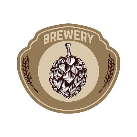 Vintage beer label with hop. Design elements for logo, label, emblem, sign, menu. Vector illustration Ilustração