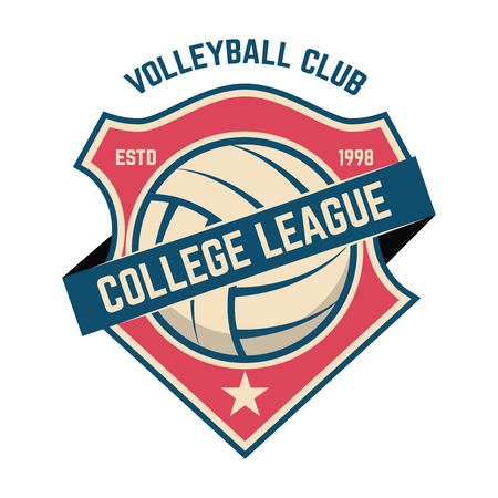 Emblem template with volleyball ball. Design element for logo, label, sign. Vector illustration