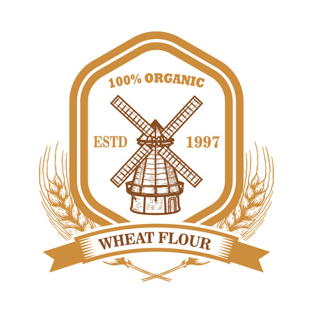 Wheat flour label template with wind mill. Design element for logo, emblem, sign, poster, t shirt. Vector illustration