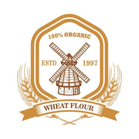Szablon etykiety mąki pszennej z wiatrakiem. Element projektu logo, godło, znak, plakat, t shirt. Ilustracja wektorowa Logo