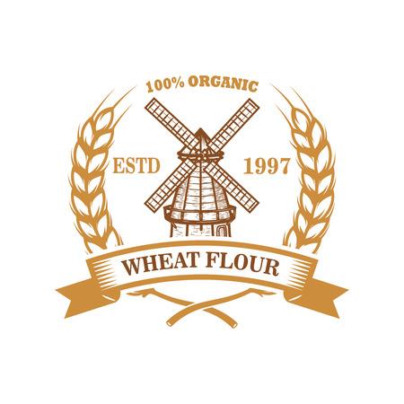 Modèle d'étiquette de farine de blé avec moulin à vent. Élément de design pour logo, emblème, signe, affiche, t-shirt. Illustration vectorielle