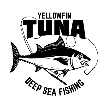 Tuna fishing. Yellowfin tuna and fishing rod. Design element for logo, label, emblem, sign, poster, card. Vector illustration